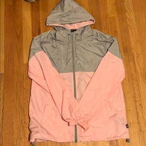 Grey and pink windbreaker
